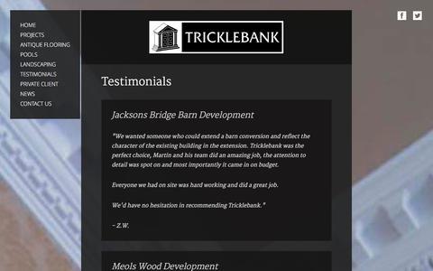 Screenshot of Testimonials Page tricklebank.com - Tricklebank Ltd | Testimonials | Cheshire and Lancashire - captured Jan. 22, 2016