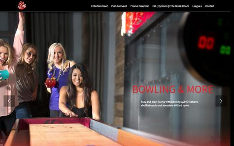Screenshot of Home Page acmebowl.com - ACME Bowl – Bowling, Billiards, Events - captured Feb. 4, 2016
