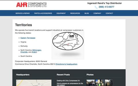 Screenshot of Locations Page air-components.com - Territories - Air Components - captured Oct. 7, 2017
