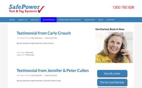 Screenshot of Testimonials Page safepower.net.au - Testimonials Archives - SafePower - captured Nov. 18, 2016