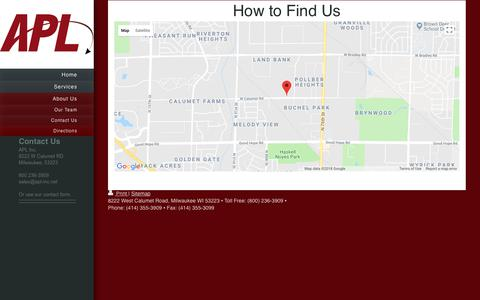 Screenshot of Maps & Directions Page apl-inc.net - APL Inc. - Directions - captured July 28, 2018
