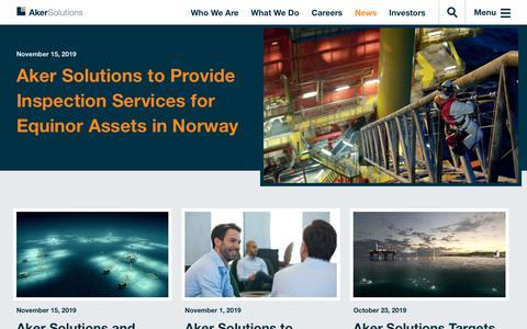 Screenshot of Press Page akersolutions.com - News | Aker Solutions - captured Nov. 19, 2019