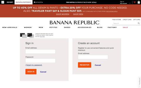 Screenshot of Login Page gap.com - Sign In | Banana Republic - captured July 29, 2018