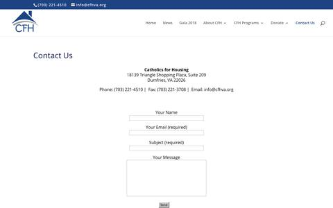 Screenshot of Contact Page cfhva.org - Contact Us | CFH - Catholics for Housing - captured Sept. 25, 2018