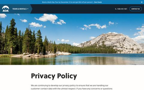 Screenshot of Privacy Page aoa-adventures.com - Privacy Policy - Adventure the AOA Way - Arizona Outback Adventures - captured Nov. 12, 2018