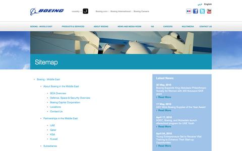 Screenshot of Site Map Page boeing-me.com - Boeing: Boeing Middle East - Sitemap - captured July 2, 2016