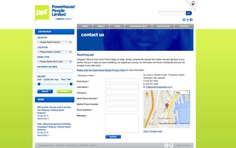 Screenshot of Contact Page powerhousepeople.co.nz - Powerhouse People Feedback page - captured Sept. 30, 2014
