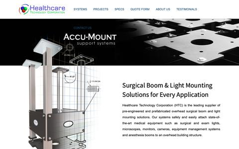 Screenshot of Home Page healthcaretec.com - Home | Surgical Mounting Solutions | Healthcare Technology Corporation - captured May 24, 2019