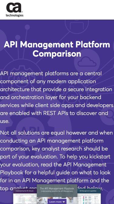 API Management Platform Comparison   CA Technologies