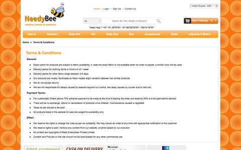 Screenshot of Terms Page needybee.com - Terms & Conditions - captured Feb. 22, 2016