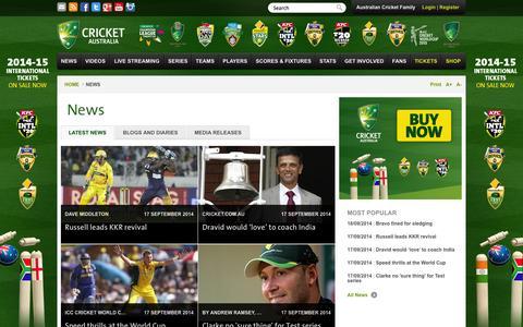 Screenshot of Press Page cricket.com.au - News - captured Sept. 18, 2014