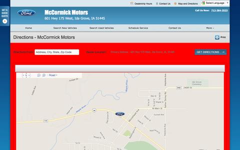 Screenshot of Maps & Directions Page mccormickmtrs.com - Directions at McCormick Motors - Your Ida Grove, Iowa Ford dealer - captured June 24, 2016