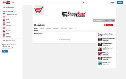 Screenshot of YouTube Page youtube.com - ShopyBuzz  - YouTube - captured Oct. 25, 2014