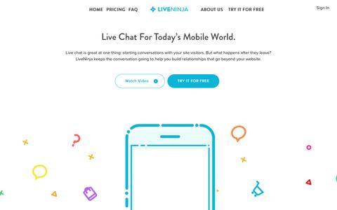 Screenshot of Home Page liveninja.com - Customer Communication Management - captured Aug. 9, 2016