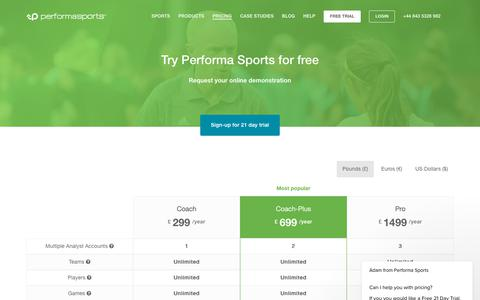 Screenshot of Pricing Page performasports.com - Pricing - Performance Analysis Software - captured July 17, 2018