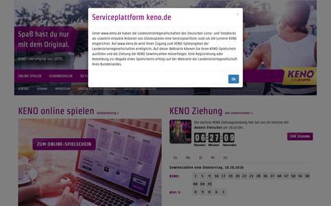 Screenshot of Home Page keno.de - KENO von LOTTO - captured Oct. 18, 2018