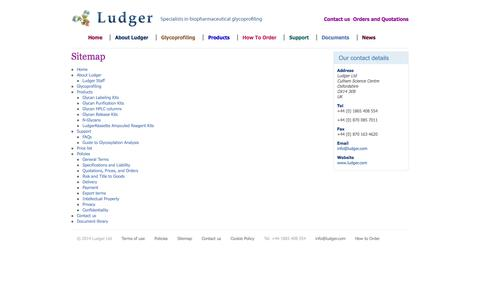 Screenshot of Site Map Page ludger.com - Glycotechnology and glycoprofiling tools - Ludger.com sitemap - captured Oct. 3, 2014