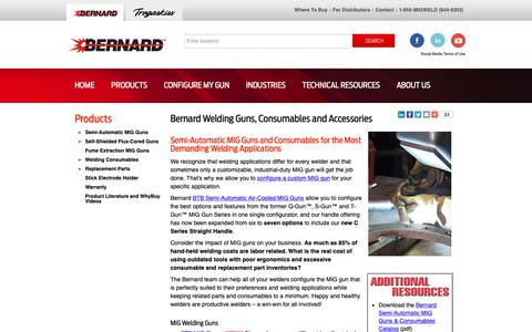 Screenshot of Products Page bernardwelds.com - Bernard Welding Guns, Consumables and Accessories | Bernard - captured Oct. 5, 2018
