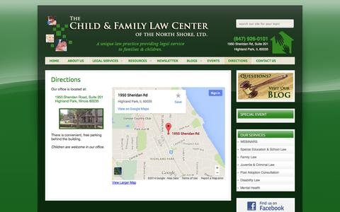 Screenshot of Maps & Directions Page lawforchild.com - DIRECTIONS - The Child & Family Law Center of Highland Park, IL | Juvenile Law - captured Oct. 7, 2014