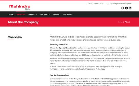 Screenshot of About Page mahindrassg.com - Overview - Mahindra SSG   Vision & Values   About - Mahindra SSG - captured Oct. 1, 2018