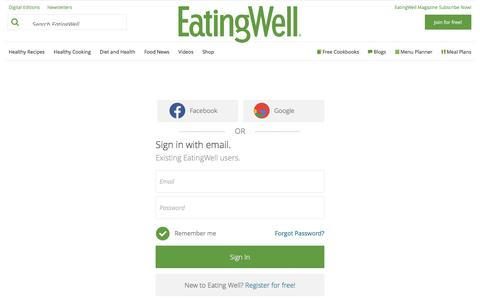 Screenshot of Login Page eatingwell.com - Sign In - EatingWell - captured May 9, 2017