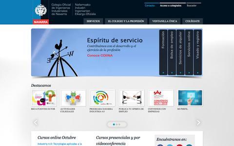 Screenshot of Home Page coiina.com - Colegio Oficial de Ingenieros Industriales de Navarra - captured Nov. 9, 2016
