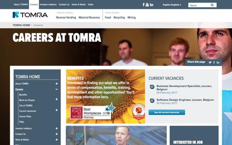 Screenshot of Jobs Page tomra.com - Careers at TOMRA: Join us in Leading the Resource Revolution! Working at : TOMRA - captured Feb. 11, 2017