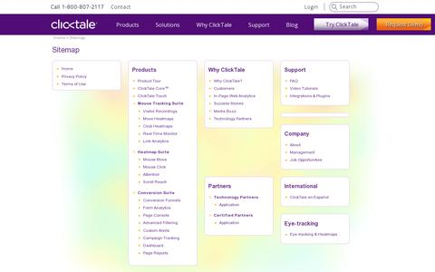 Screenshot of Site Map Page clicktale.com - Sitemap | Web Analytics by ClickTale - captured July 20, 2014