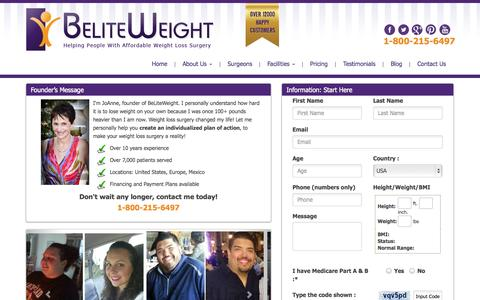 Screenshot of Pricing Page beliteweight.com - Request a Quote for Affordable Weight Loss Solution | Beliteweight - captured Oct. 29, 2014