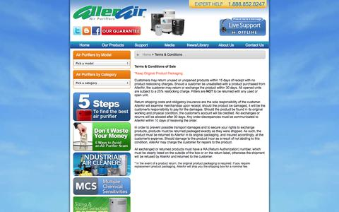 Screenshot of Terms Page allerair.com - Air purifiers and indoor air purification Allerair customer support - captured Oct. 4, 2014