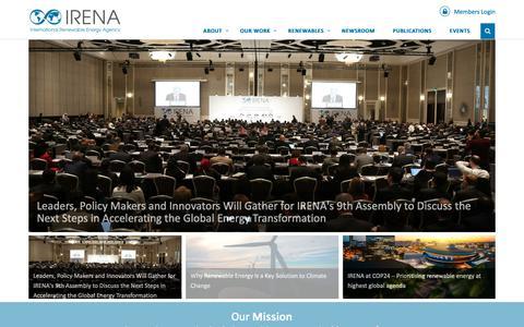 Screenshot of Home Page irena.org - IRENA – International Renewable Energy Agency - captured Dec. 17, 2018