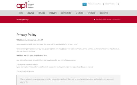 Privacy Policy - API Quality Control Services