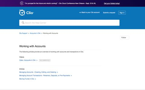 Screenshot of Support Page clio.com - Working with Accounts – Clio Support - captured Sept. 21, 2017