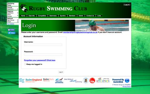 Screenshot of Press Page rugbyswimmingclub.co.uk - RSC - Log In - captured Sept. 21, 2018