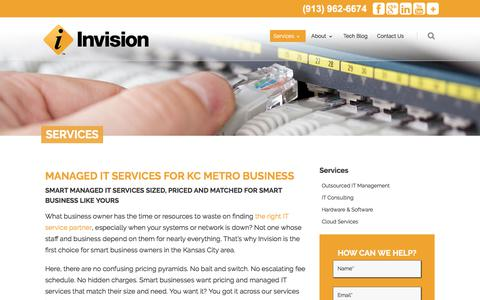 Screenshot of Services Page invisionkc.com - Managed IT Services | Invision | Kansas City IT Management - captured Oct. 4, 2017