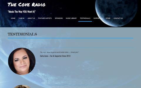 Screenshot of Testimonials Page thecoveradio.com - Testimonials - captured Oct. 22, 2017