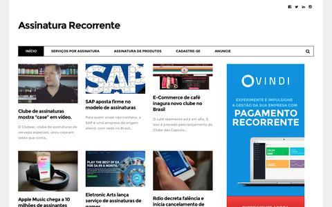 Screenshot of Home Page assinaturarecorrente.com - Assinatura Recorrente - Cobrança Recorrente, Pagamento Recorrente, Faturamento Recorrente e Sites de Assinatura - captured Aug. 25, 2016
