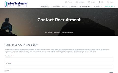 Screenshot of Jobs Page intersystems.com - Contact Recruitment | InterSystems - captured Dec. 12, 2017