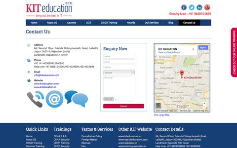 Screenshot of Contact Page kiteducation.com - CCNA Training in Jaipur Cisco CCNA Institute in Jaipur India - captured Sept. 30, 2014