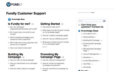 Screenshot of Support Page fundly.com - Fundly Customer Support - captured Sept. 16, 2014