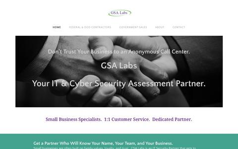 Screenshot of Home Page gsalabs.net - GSA Labs LLC - Cyber Security Experts Specializing in Government & Government Contractors - IT Security Consulting - captured July 15, 2018