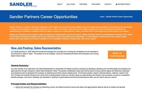 Screenshot of Jobs Page sandlerpartners.com - Sandler Partners Career Opportunities | Sandler Partners: Telecom and Cloud Master Agent - captured Feb. 8, 2019