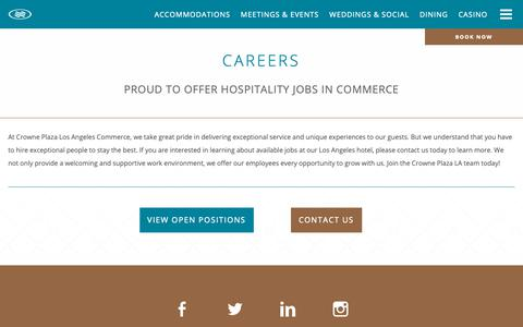 Screenshot of Jobs Page cpccla.com - Jobs in Commerce - Careers - Crowne Plaza Commerce Hotel & Casino - captured Sept. 30, 2018
