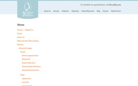 Screenshot of Menu Page richmondplasticsurgeons.com - Menu | Richmond Plastic Surgeons - captured Sept. 30, 2014