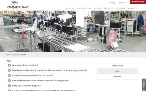 Screenshot of FAQ Page cir-q-tech.net - FAQs - captured July 31, 2017