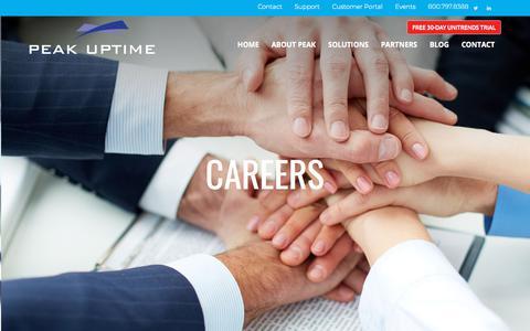 Screenshot of Jobs Page peakuptime.com - Careers — Peak UpTime - captured July 16, 2018