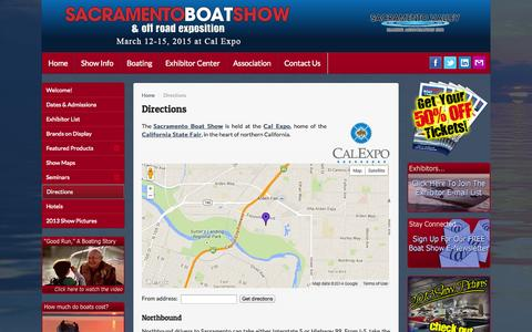Screenshot of Maps & Directions Page sacramentoboatshow.com - Directions - Sacramento Boat Show - captured Sept. 30, 2014