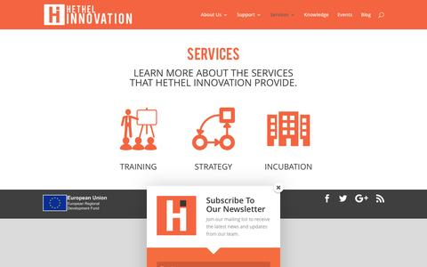 Screenshot of Services Page hethelinnovation.com - Services | Hethel Innovation - captured July 14, 2016