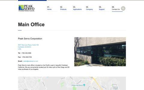 Screenshot of Contact Page peakservo.com - Main Office | Peak Servo Corporation - captured Sept. 27, 2018