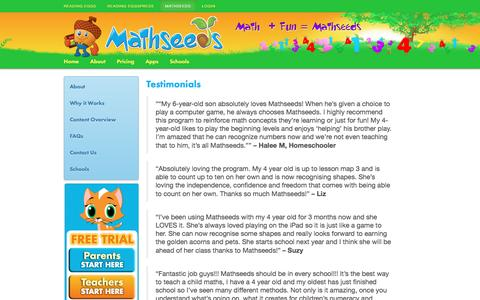 Screenshot of Testimonials Page mathseeds.com - - Mathseeds - captured Feb. 20, 2016